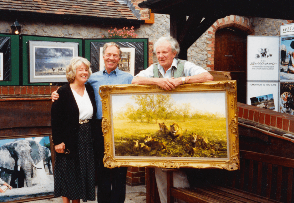 John and Wendy Shinner with David Shepherd, at an event in the Farm Shop raising money for his Wildlife Charity