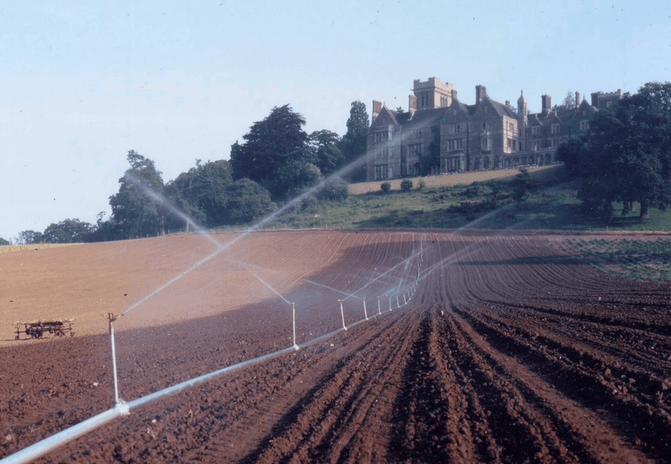 The fields below the Nutfield Priory Hotel in the 1970s.