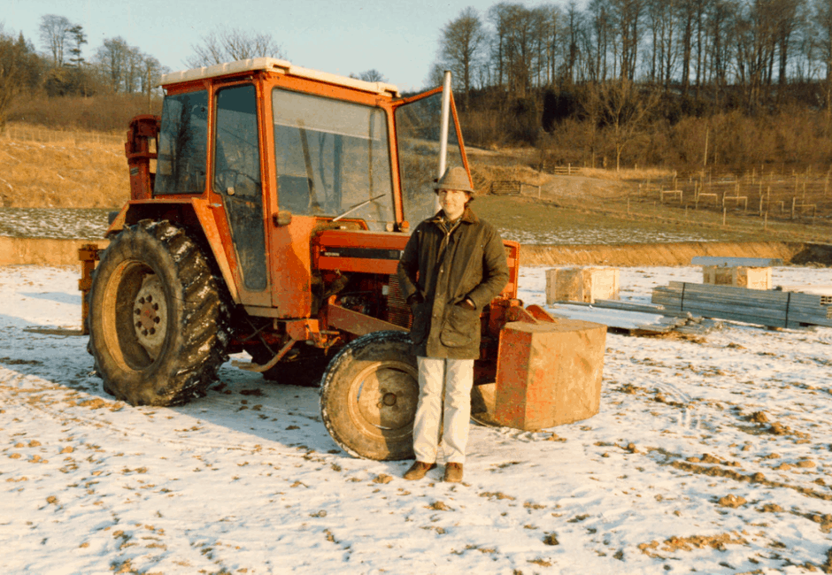 Frances Hallowes on site, just before the new glasshouse was erected in 1985.