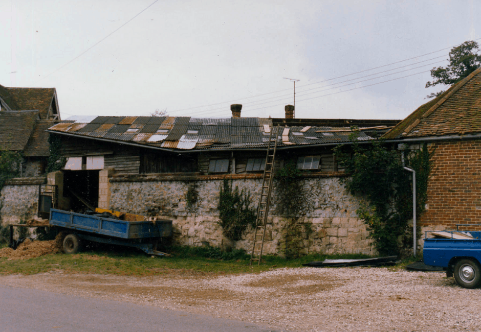View taken in 1984 of what is now the Farm Shop, from Sandy Lane.