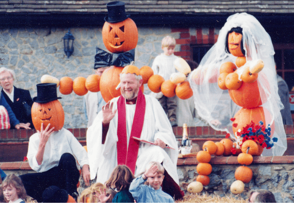 Tony Turner, officiating at the marriage of Pumpkin man and Pumpkin lady.