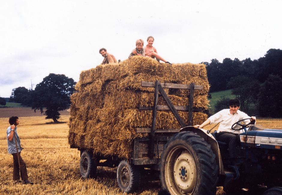 Straw cart with Melanie, Nic, Tony and Michael
