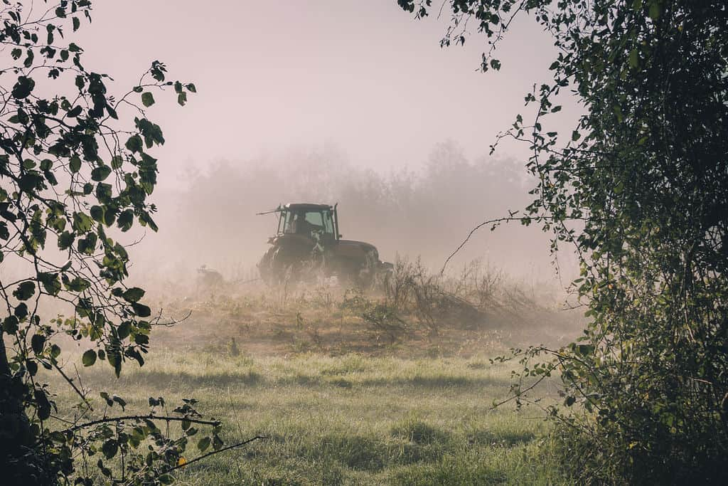 Visit Us on the Priory Farm Estate, tractor ploughing the fields