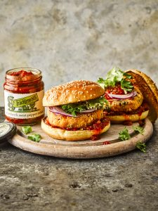 Sweet Potato Burger with Sweet Pepper Relish